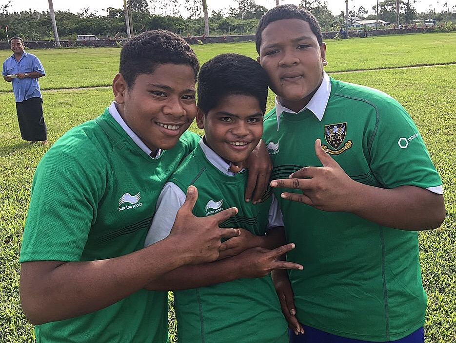 Young boys repping the Northampton Saints kit - courtesy of Campese Ma'afu