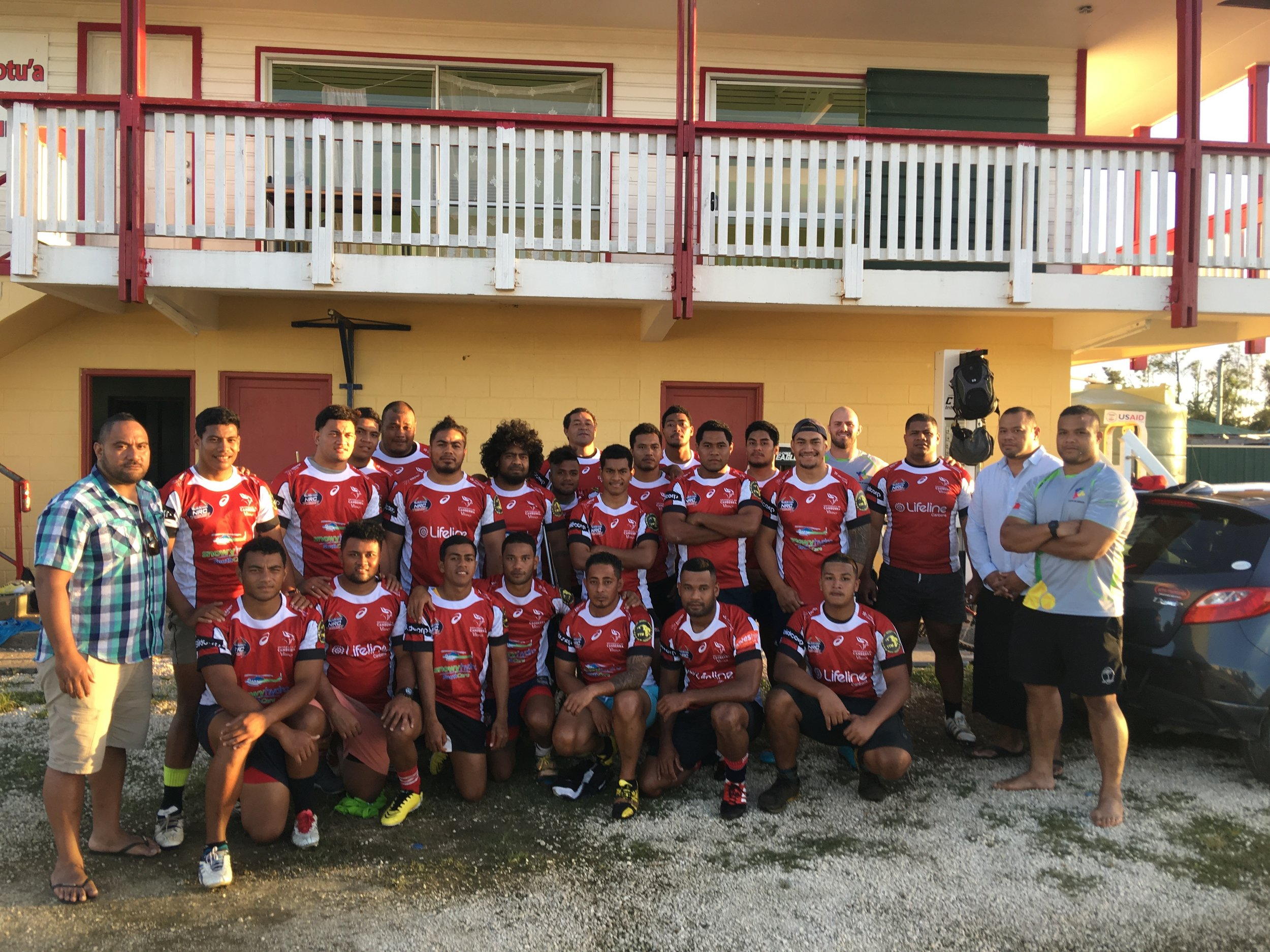 Under 21s Nuku'alofa team repping their new playing kit from 1-23... thanks to Brumbies and Vikings rugby teams