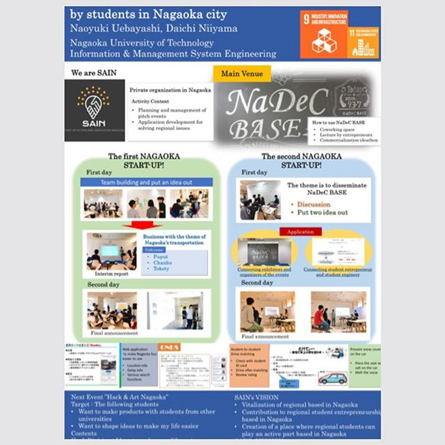 10月5日(金)・6日(土)に開催された にSAINのメンバーが出席してきました! * (STI-Gigakuとは、長岡技術科学大学主催の、国内外の高専、大学、研究機関、企業等による教育研究成果の発信と、成果の共有による教育研究の展開、国際的ネットワークの形成を目的とした国際会議です。) * そこで、SAINの活動内容などについてポスター発表を行って参りましたので、ここで報告させていただきます😌 * \これまでの活動やこれからのビジョンについてまとめてあるポスターとなっております!/ * 鮮明なポスターの写真はこちらをご覧ください!→ https://www.facebook.com/SAINnagaoka/photos/a.1894275427532008/1966327493660134/?type=3 * #新潟 #長岡 #技大 #技科大 #高専 #国際会議 #STI-Gigaku #ポスター発表
