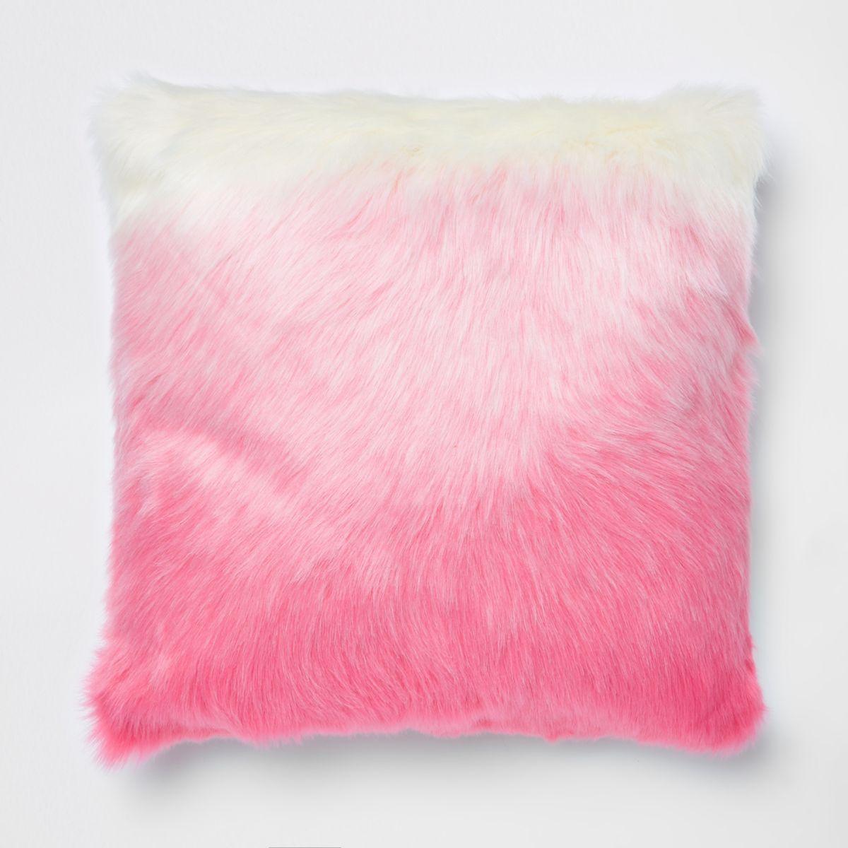 Pink Ombre Faux Fur Cushion, £45