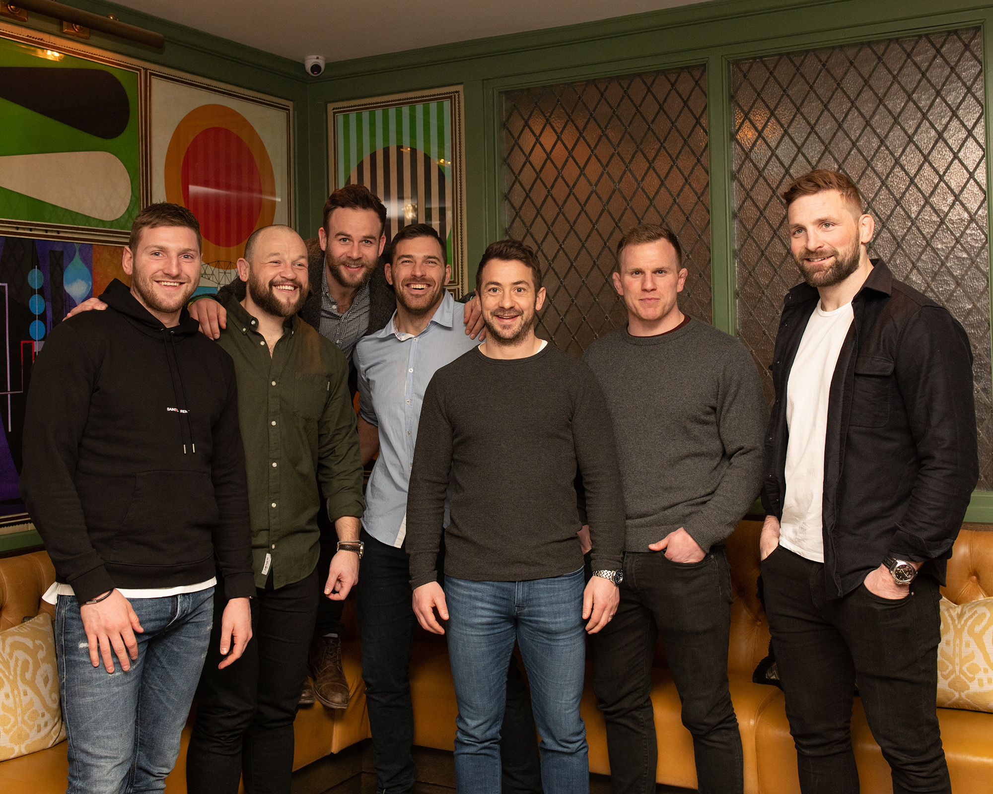 From left to right: Scottish Rugby players Finn Russell, Ryan Grant, Ruaridh Jackson, Sean Lamont, Greig Laidlaw, Chris Fusaro, John Barclay. Taken at The Ivy on the Square.