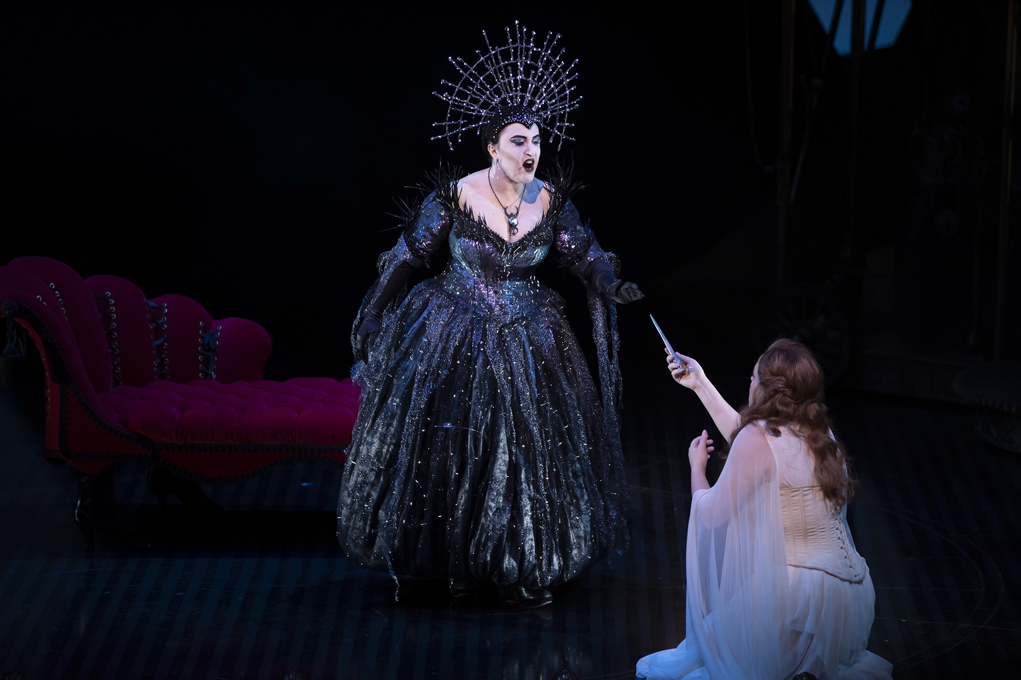 Julia Sitkovetsky (The Queen of the Night) and Gemma Summerfield (Pamina) in The Magic Flute. Scottish Opera 2019. Credit James Glossop.jpg