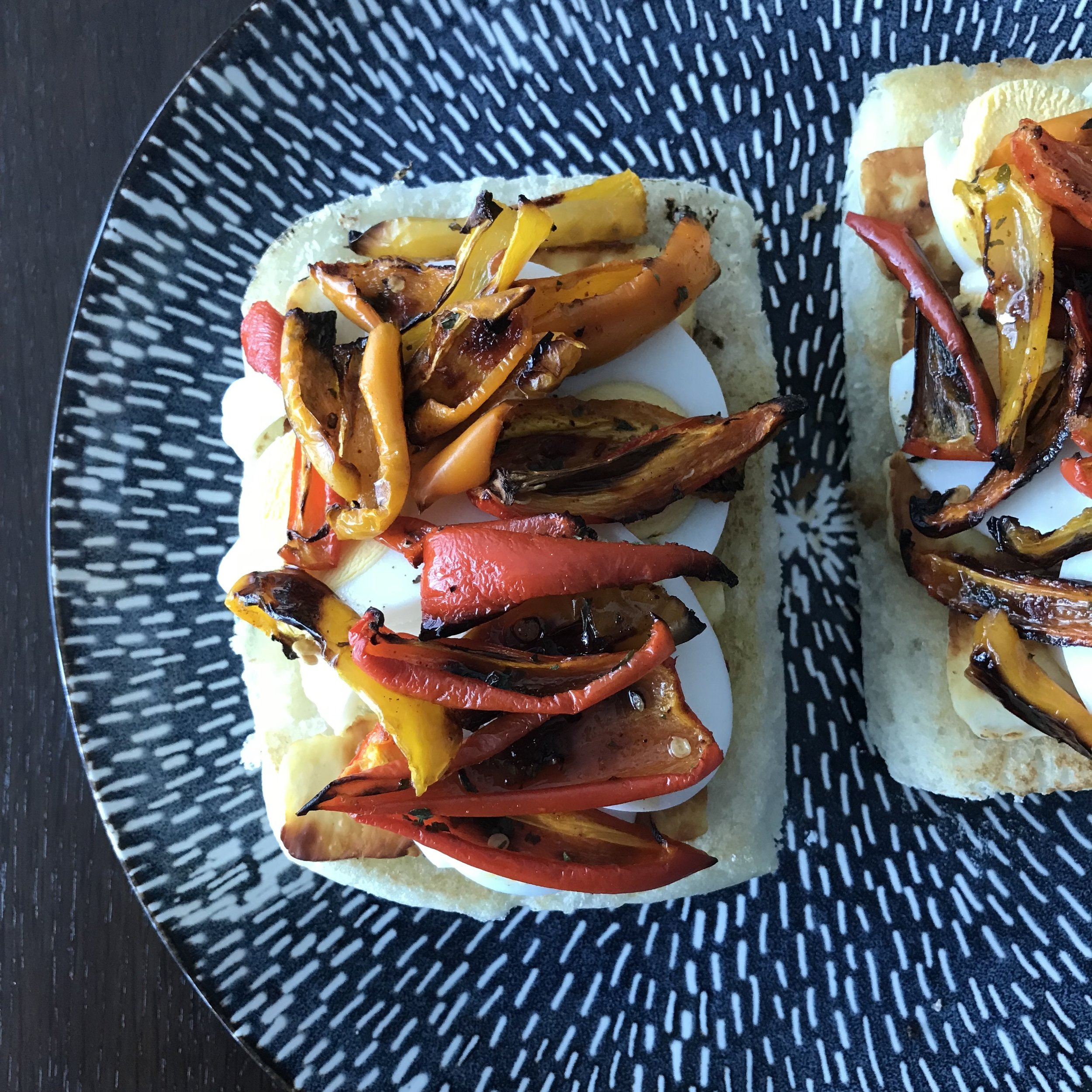 Roasted Pepper and Haloumi Sandwich