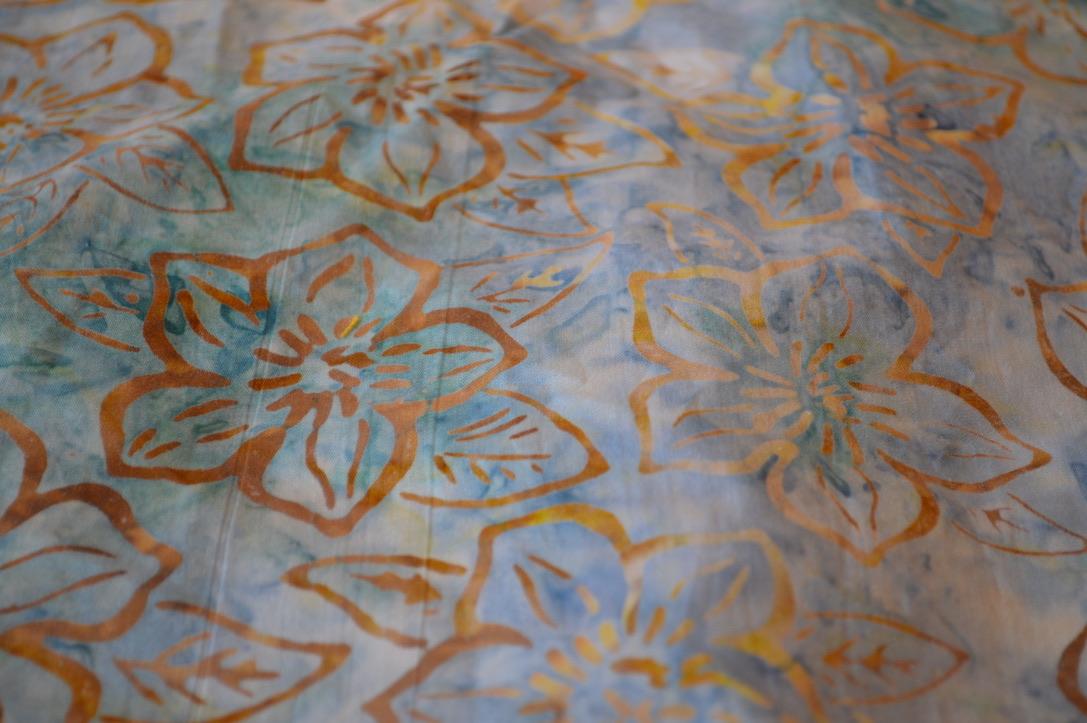 Blue and Gold Batik Flowers