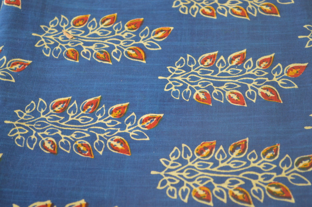 Blue Khadi Flowers