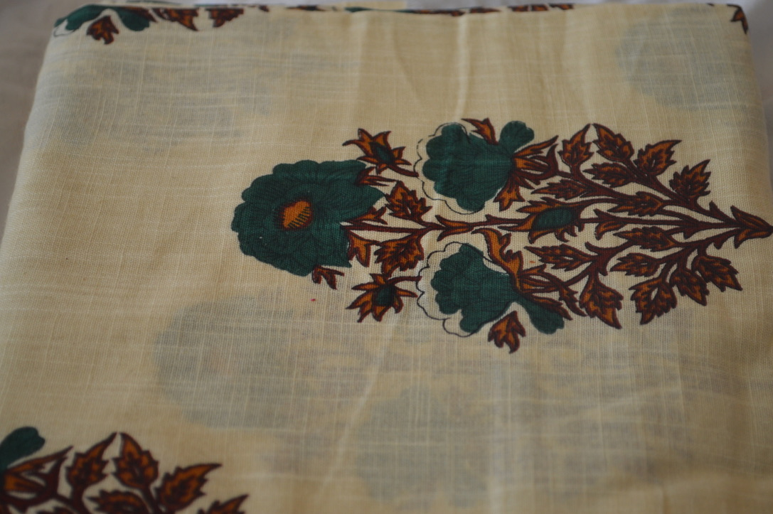 White and Green Khadi Floral
