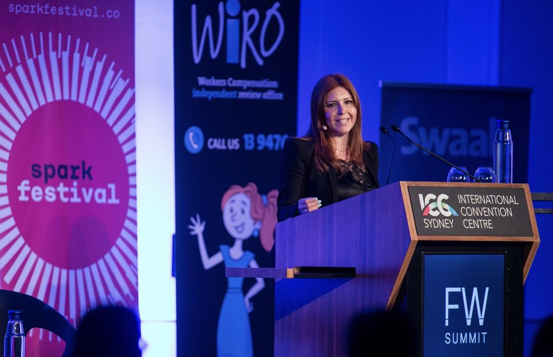 Image supplied: Carina Parisella hosting the Future Work Summit