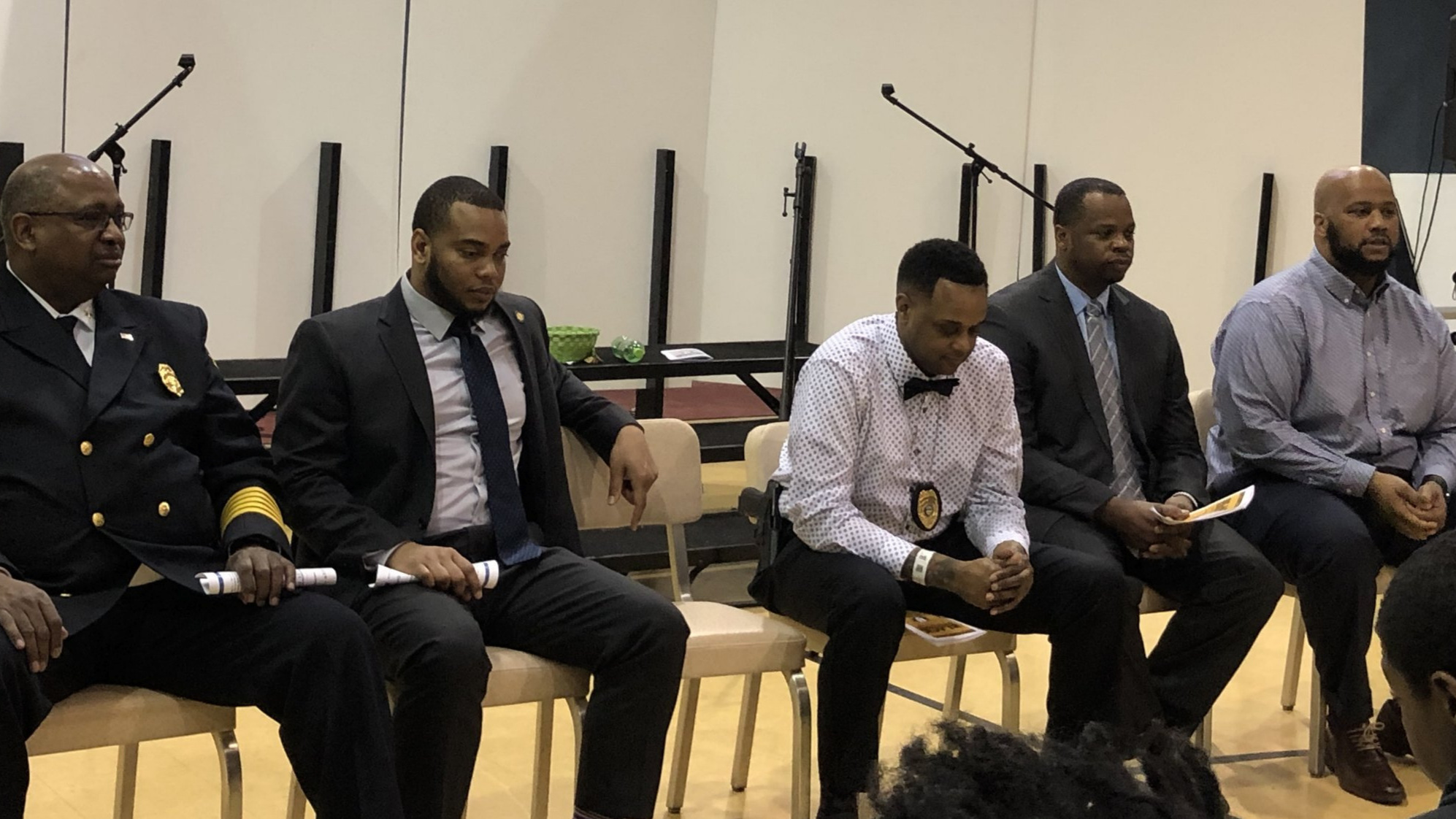 From left: Chief Clarence Tucker, David Hamilton, Detective Jon Morgan, Reggie Ray, Larry Burt