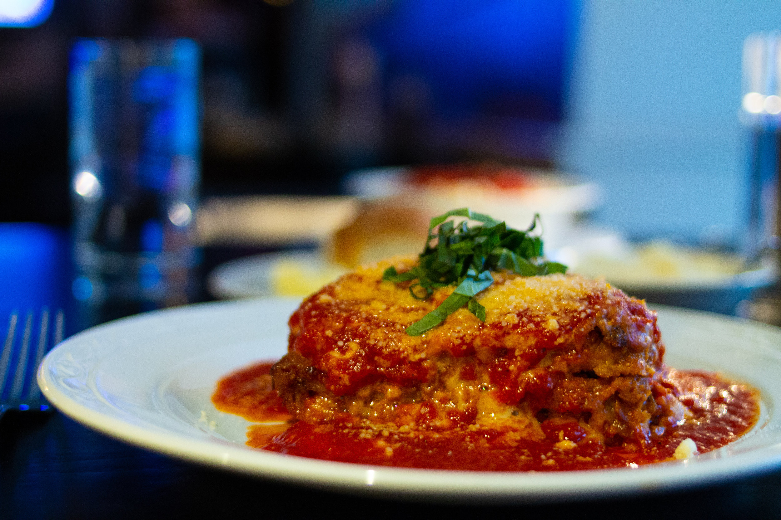 #10 Eggplant Parmesan at Mazzeo's Ristorante - Thin layers of eggplant breaded and layered to make a small tower of sauce cheese that is the epitome of Italian-American comfort food. Eggplant parmesan is of of my favorite meals and Mazzeo's does it well.