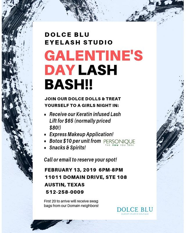 Hey lash babes! Our studio will be hosting a girls night in🍾 this #galentinesday Sign up sheets will be in the studio for anyone wanting to try out our services or just give us a call & we'll put your name down! Discounted lash lifts will be done only by the best @livelovelashnbrow & @atx.eyecandy 💙💙 Along with fabulous Botox by @personiqueonthespot Can't wait to see y'all there🌈