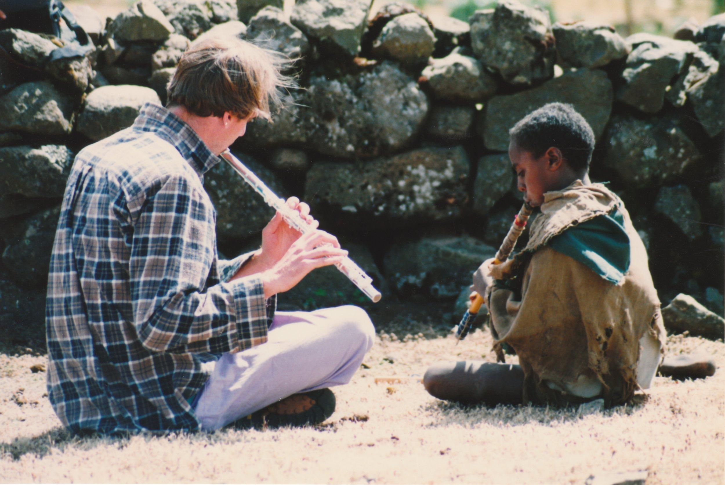 Collaboration with shepherd children, Simien Mountains, Ethiopia 1995