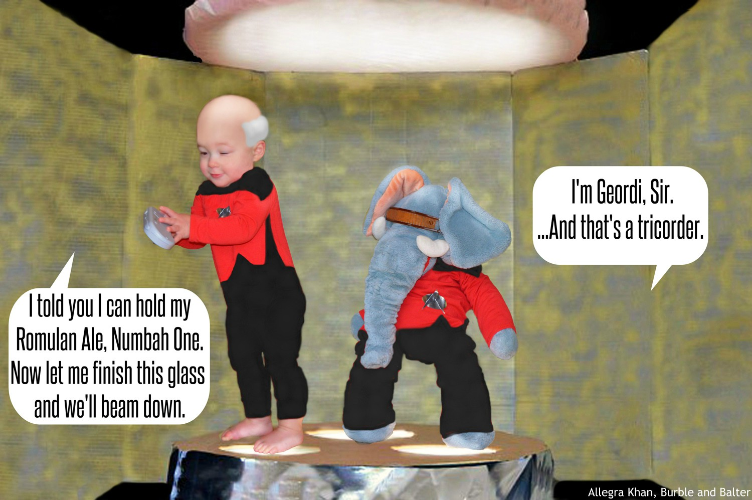Picard and Geordi on the Transporter Pad.