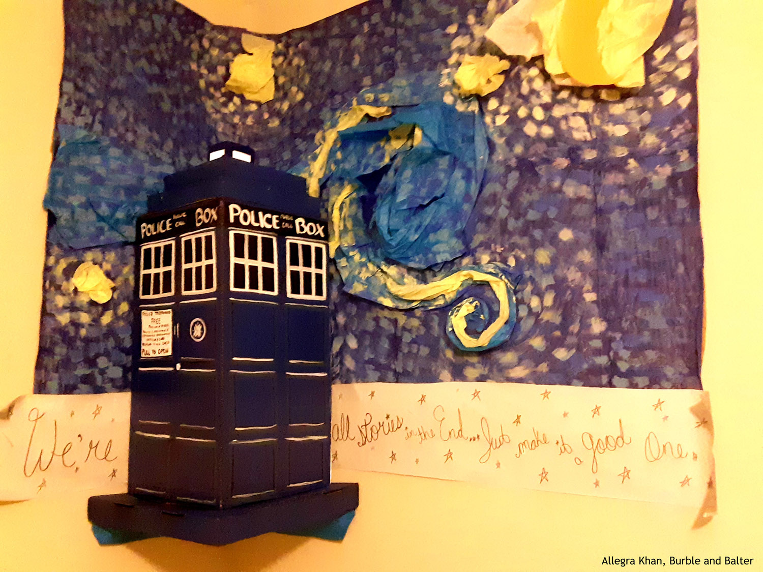 Tardis and Starry Night Banner Close Up