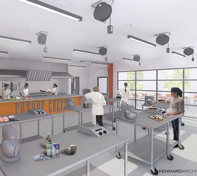 glimpse into the future future chefs Teaching Kitchen for the kids. watch for construction pics this summer/fall. @futurechefs  #jkafuturechefs #futurechefs #futurechef #architecturerender #roxbury #lounge #teachingkids #teachingkitchen #chef #bostonfoodies
