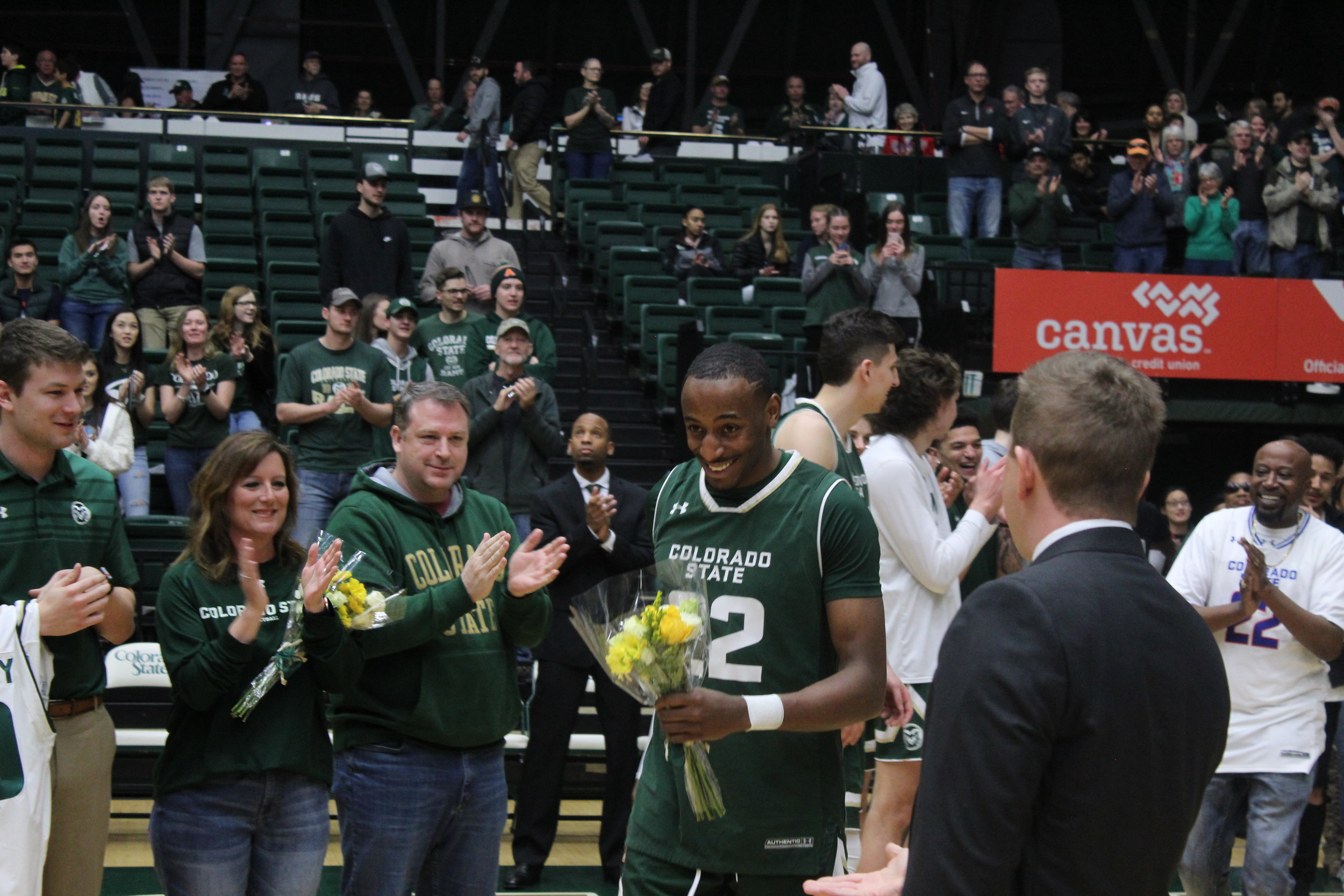 J.D. Paige takes in the moment as CSU fans thank him for his four seasons in the program.