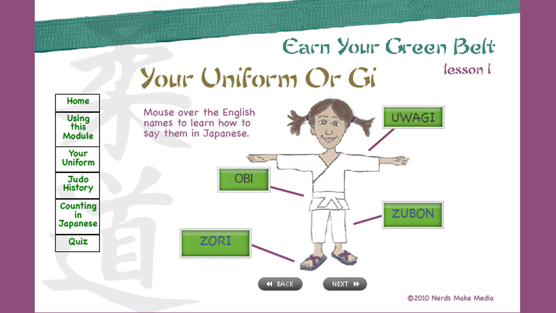 Earn Your Greenbelt - Lesson 1 sample of interactive page