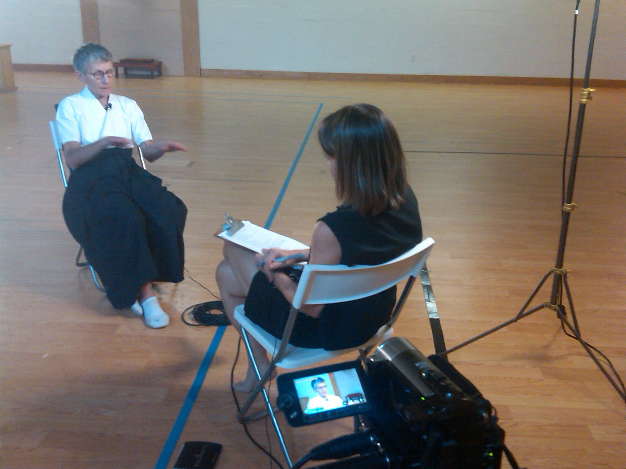 Interviewing Fran at her Naginata Dojo in Virginia