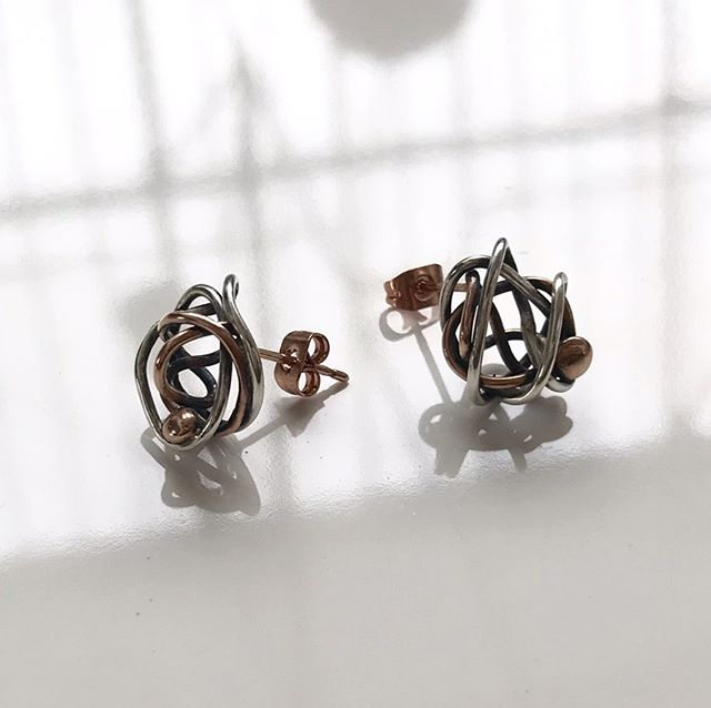 New City Nest studs ✨ Half Silver // Half Rose Gold