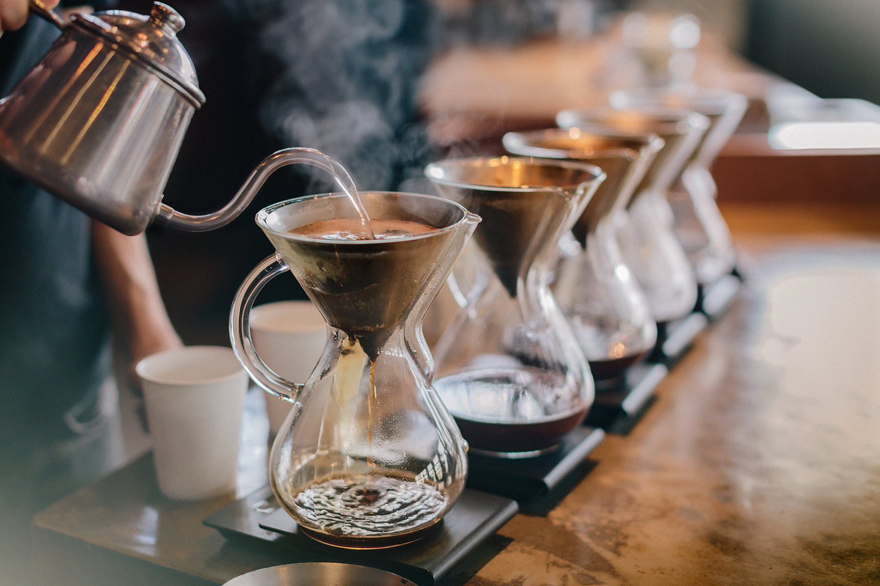 Pour over station at coffee shop