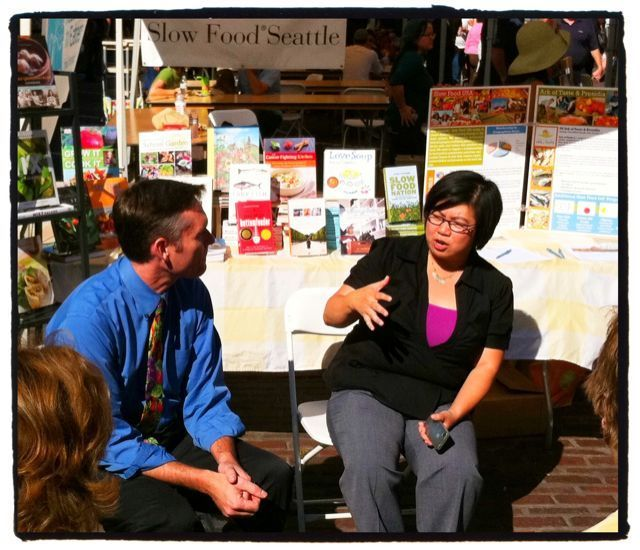 Eric Boutin, Nutrition Director of Seattle Public Schools & Hsiao-Ching Chou of Jamie Oliver's Food Revolution Seattle talking good food in schools.