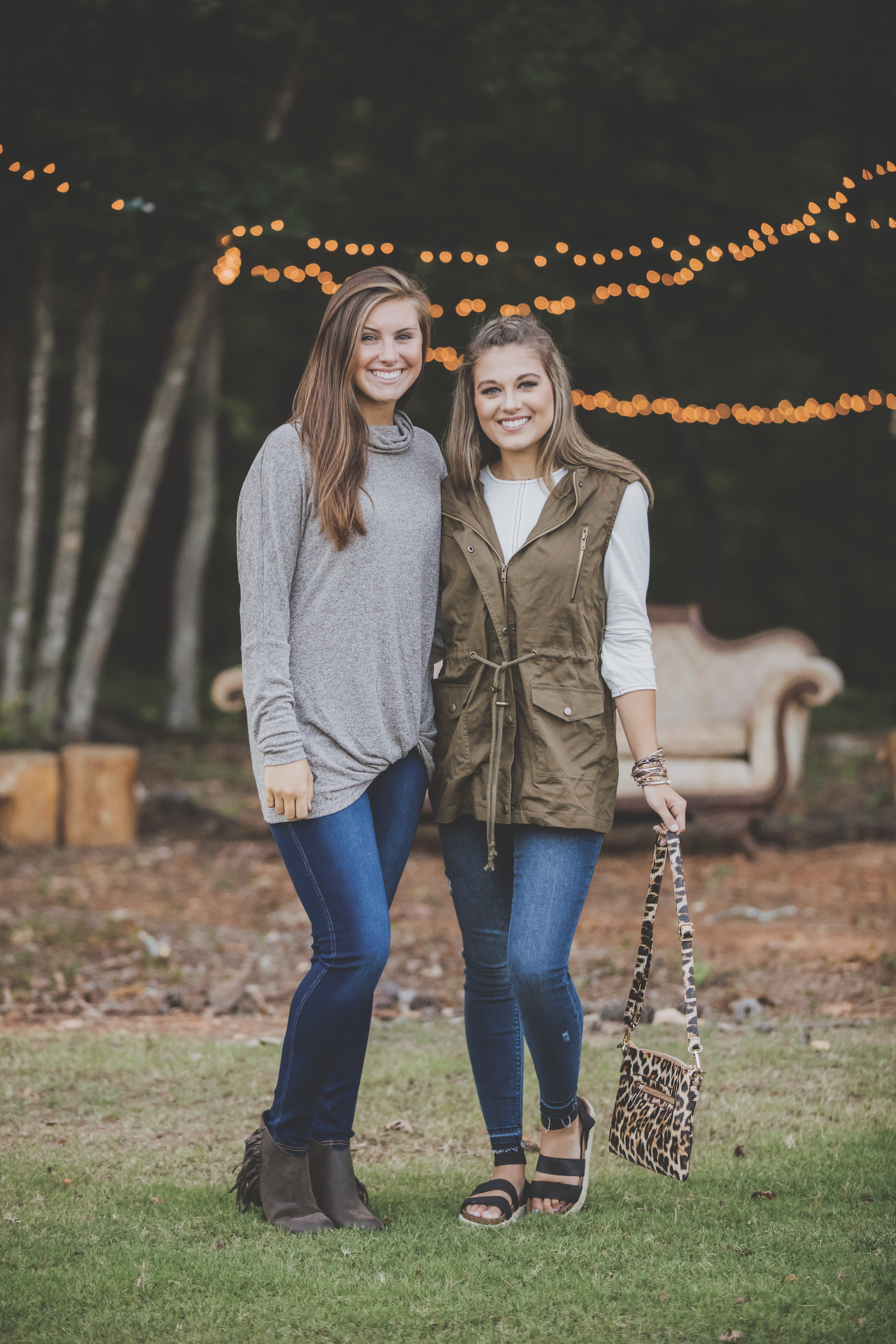 Models Ashley Miller and  Cameron Stutts   Prosperity Home   113 N Main St, Prosperity  Cowl neck sweater and leggings by Simply Southern   Making It Personal   1311 main St, Newberry  Olive button-down vest, leopard and gold stackable bracelet, leopard print purse