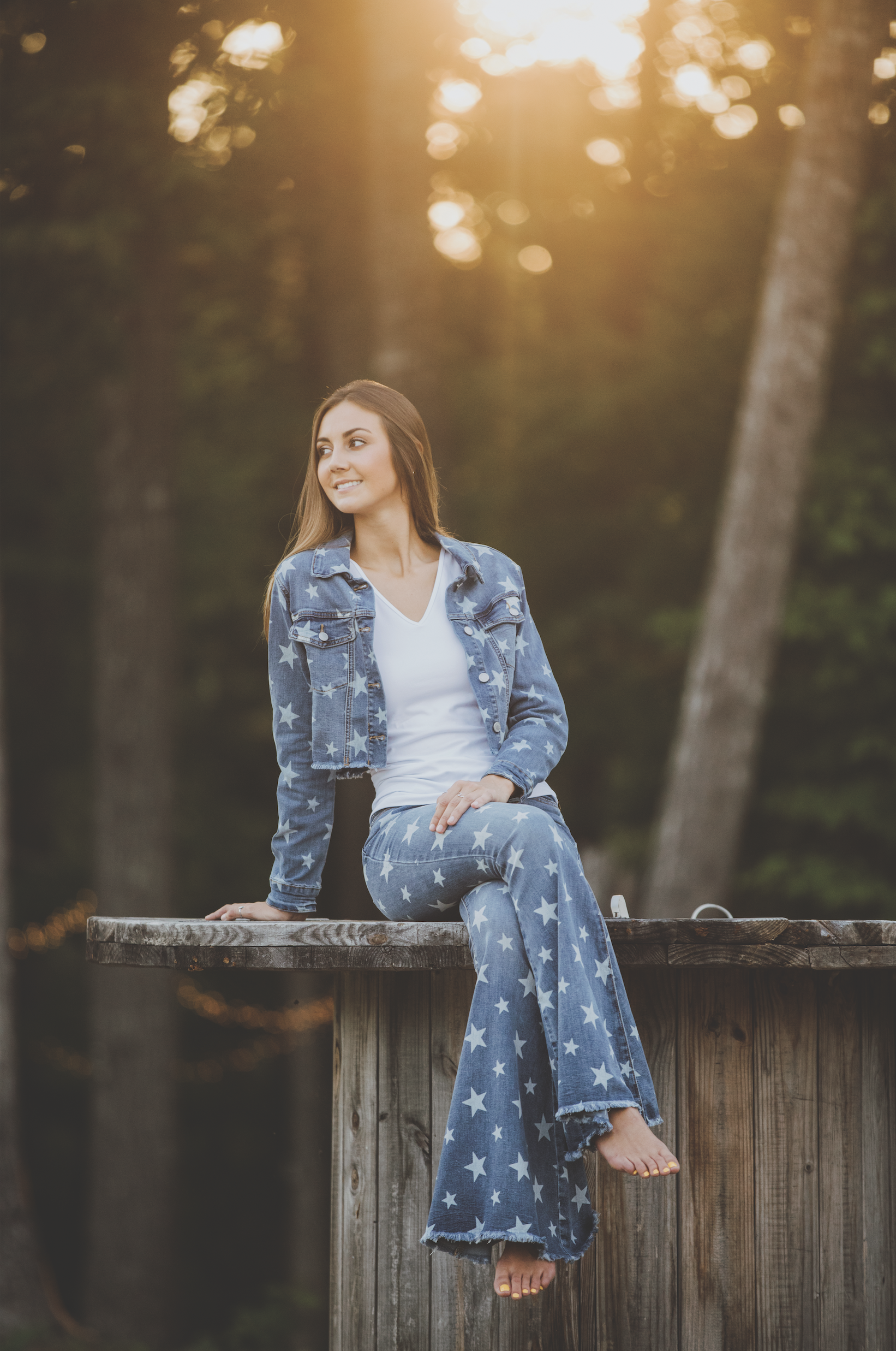 Model Cameron Criminger   Lucy's    1215 Main St, Newberry  denim jacket and flare leg jeans by Judy Blue