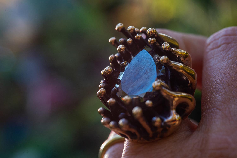 Black diamond in bronze ring