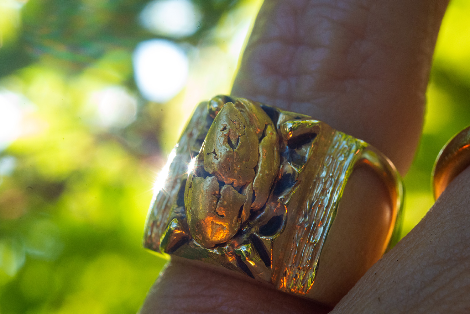 Gold nugget one-of-one custom pinkie ring