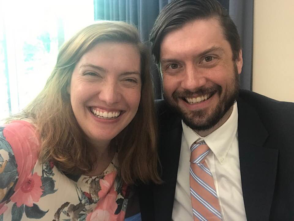 Liz Ballard Hamm and Andrew Ballard, authors of The Great Big Ark in the Sky, celebrate Andrew's completion of the public relations program at the University of Virginia.