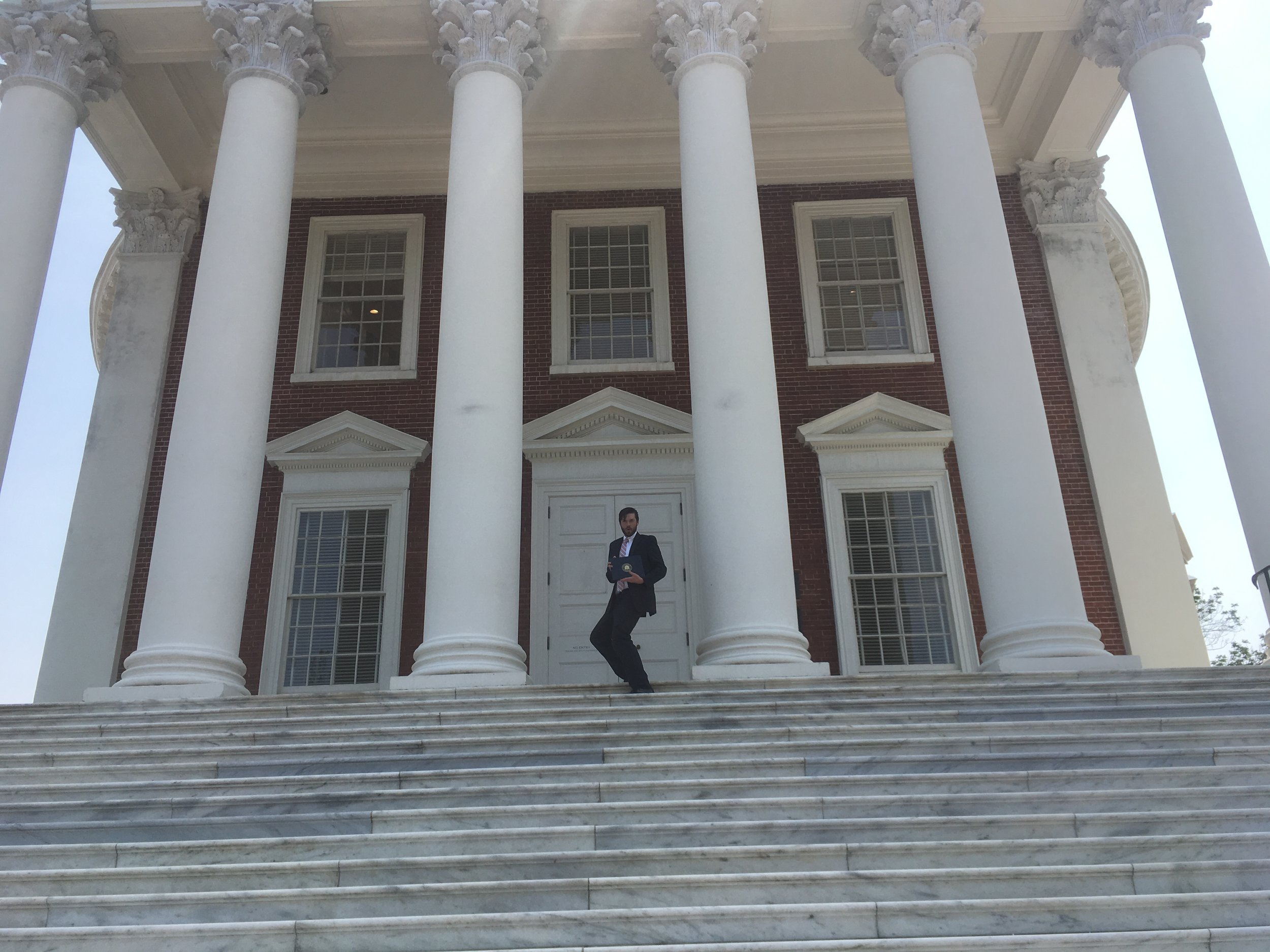 """Andrew perfects his """"blue steel"""" look on the steps of the Rotunda at the University of Virginia."""