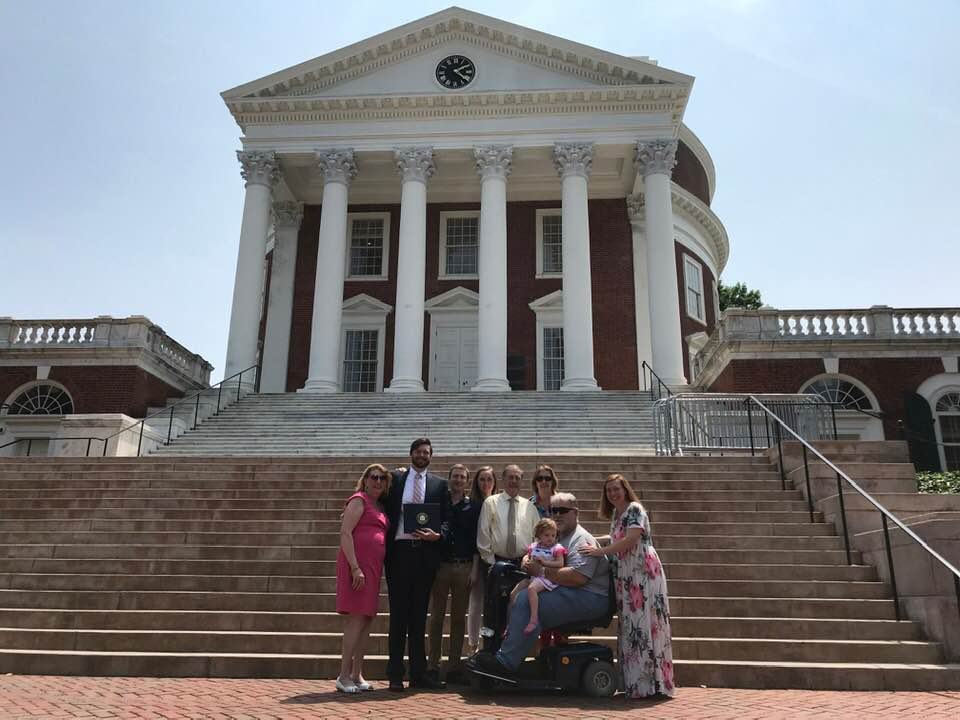 Andrew with family at the University of Virginia.