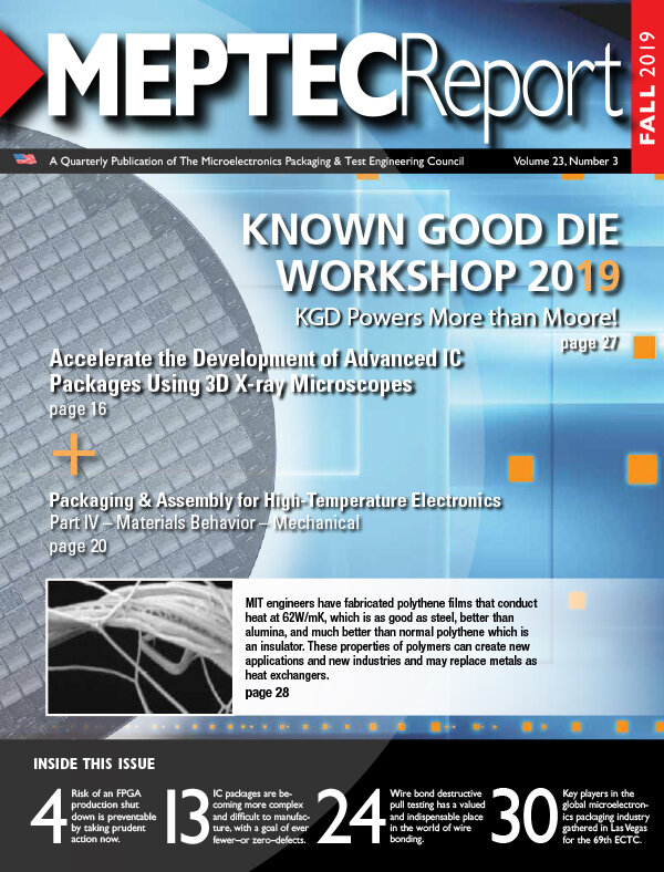 SMART Microsystems' William Boyce Discusses  Destructive Wire Bond Pull Testing and Its Purpose  in the Fall 2019 Issue of the MEPTEC Report