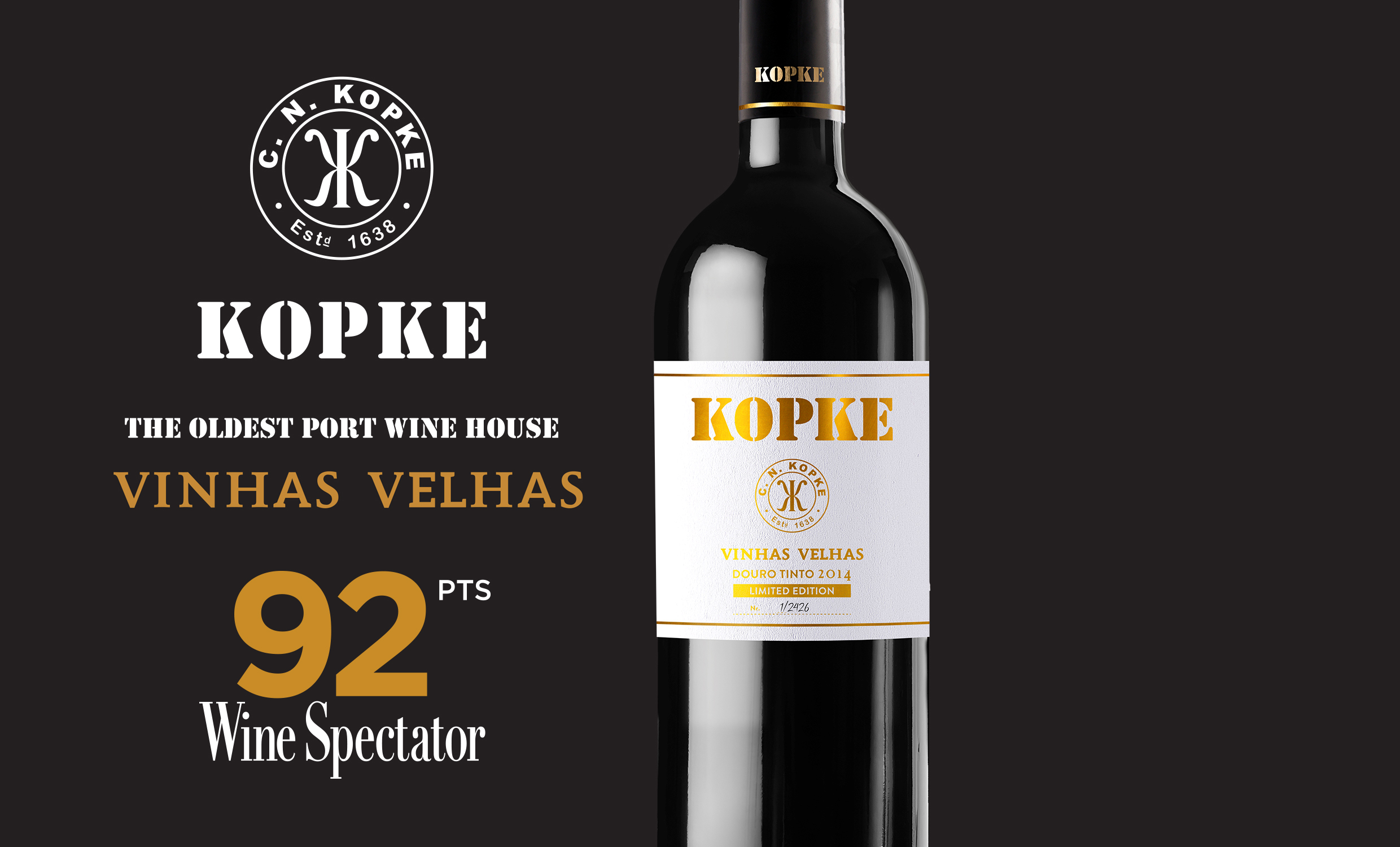 "KOPKE: VINHAS VELHAS 2014 - ""A distinctive but alluring red, with a rose petal note waiting through the black cherry compote, currant and plum tart flavors.""Wine Spectator, Gillian Sciaretta's recommended wine from Portogal, June, 2019"