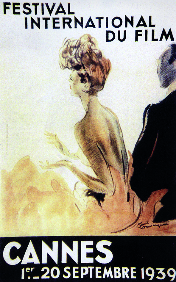 L'affiche originale du festival en 1939 par le peintre Jean-Gabriel Domergue. Collection Festival de Cannes-Cinémathèque française.