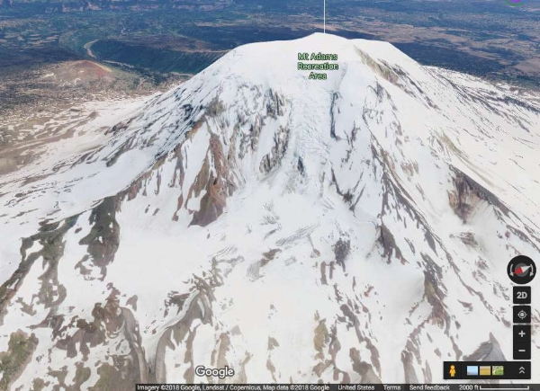 Mt. Adams in 3D Google maps, satellite view. Now we have something useful!