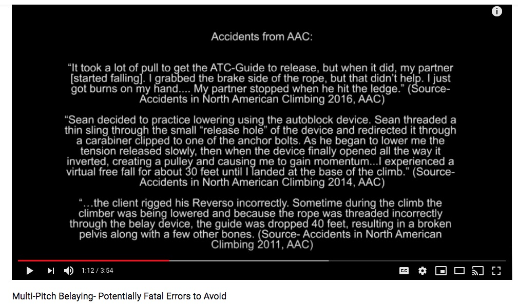 """image: """"Multi-Pitch Belaying- Potentially Fatal Errors to Avoid"""" - youtube.com/watch?v=s9np7B1Zao4"""