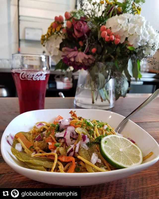 Have you been to @globalcafeinmemphis yet?? #Repost @globalcafeinmemphis with @get_repost ・・・ Nepalese Chow Mein prepared by Chef Indra along with a glass of Hibiscus tea. That is what's for lunch!  #globalcafememphis #globalcafe #internationalmemphis #choose901 #crosstown #immigrants #refugees #bettertogether