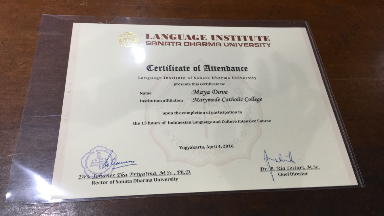 Certificate that was given at the end of the trip.