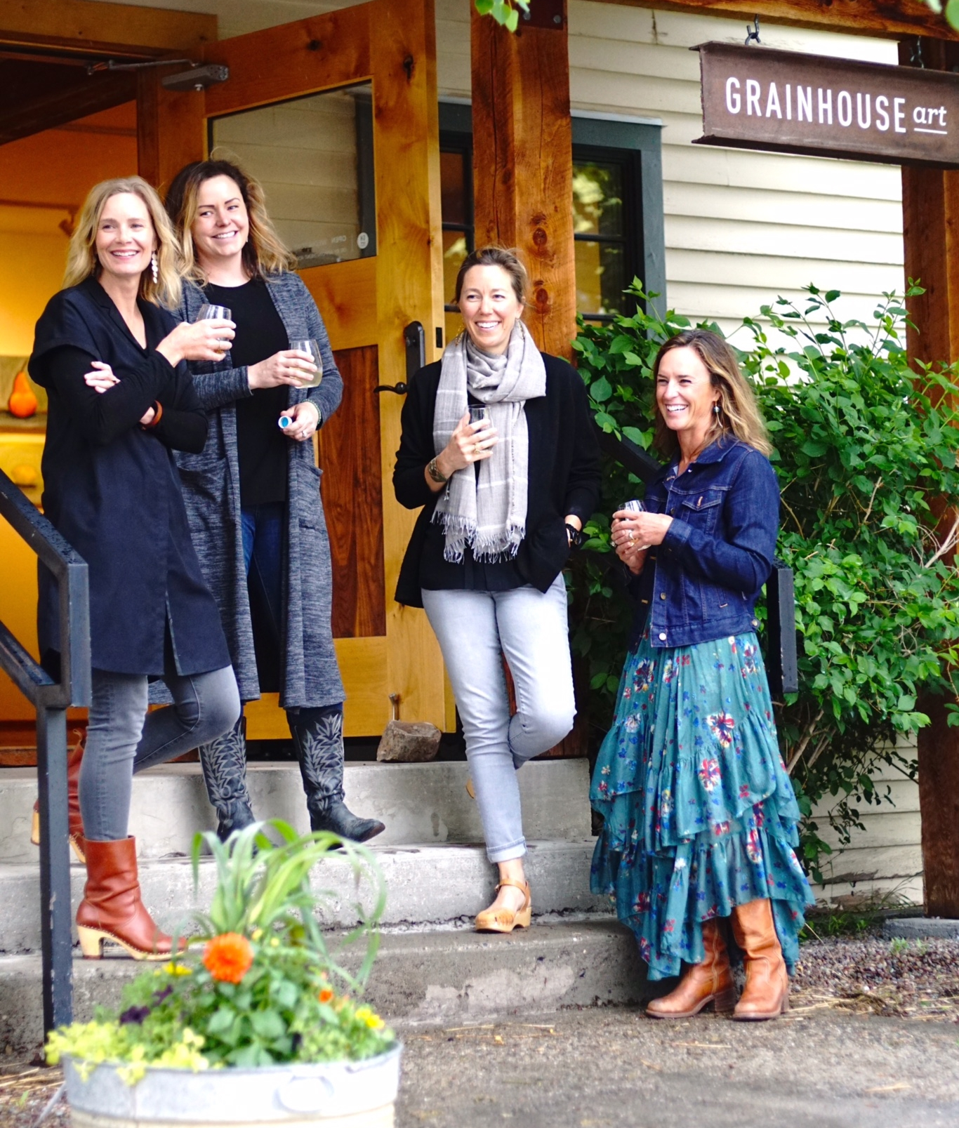 Grainhouse Art founding partners, from left to right: Molly Stratton, Laurel Hatch, Anna Patterson, & Elizabeth McRae.