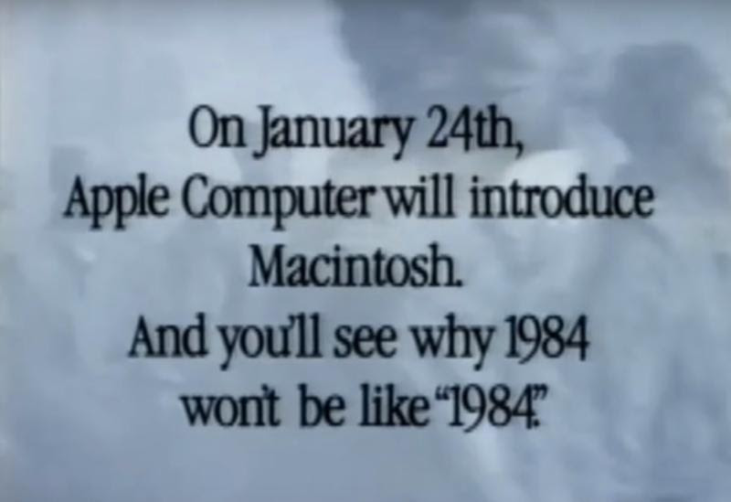 source: YouTube   Apple's 1984 Superbowl commercial for the new Macintosh