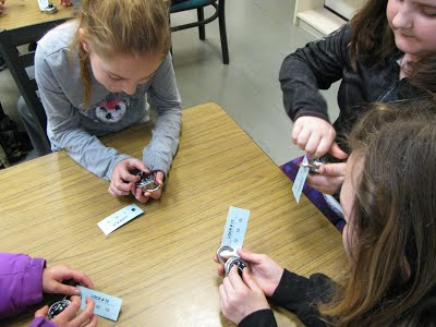 Casar Elementary students practicing combination locks prior to entering middle school to help reduce their worries about transitioning schools.