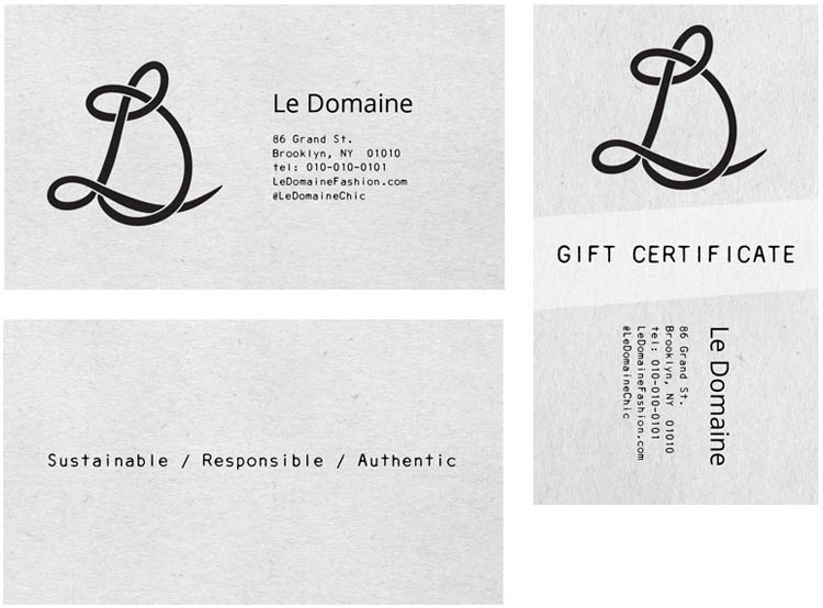 Business cards and gift certificate