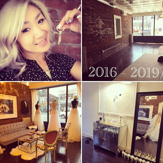 """3 years ago today, on July 1st, 2016, Je Vis Bridal opened their first boutique. In this studio, we helped countless brides find their dream dress, we have laughed, cried and everything in between. I am confident to say, it was a very successful 3 years!  And today, with sad and happy tears, we are saying goodbye to our first storefront 😢. BUT we are super EXCITED to announce that we are moving to a bigger and sweeter location at 893 O'Connor Dr., Toronto🥰!! It has been an emotional and challenging couple of weeks trying to set up shop, but we are getting there! Thank you for everyone's love and support at our first location! Huge thanks to the @weddingreps family for everything, we've really been through thick and thin now!! And yes, @weddingreps and @stavasmenswear will be at the new location too! ❤️❤️❤️ Another """"best"""" Canada Day present for myself!! Stay tuned!!!!!"""