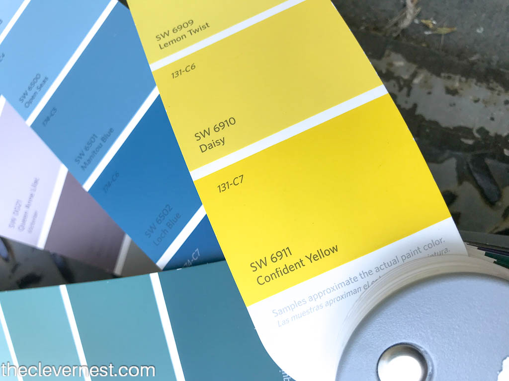 yellow paint chip color called confident yellow