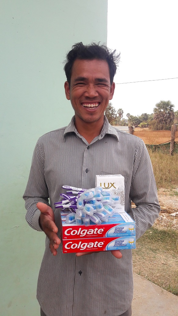 Teacher Un Noeun collected toothpastes, toothbrushes and soap for oral healthcare and hand washing activities for his preschool students.