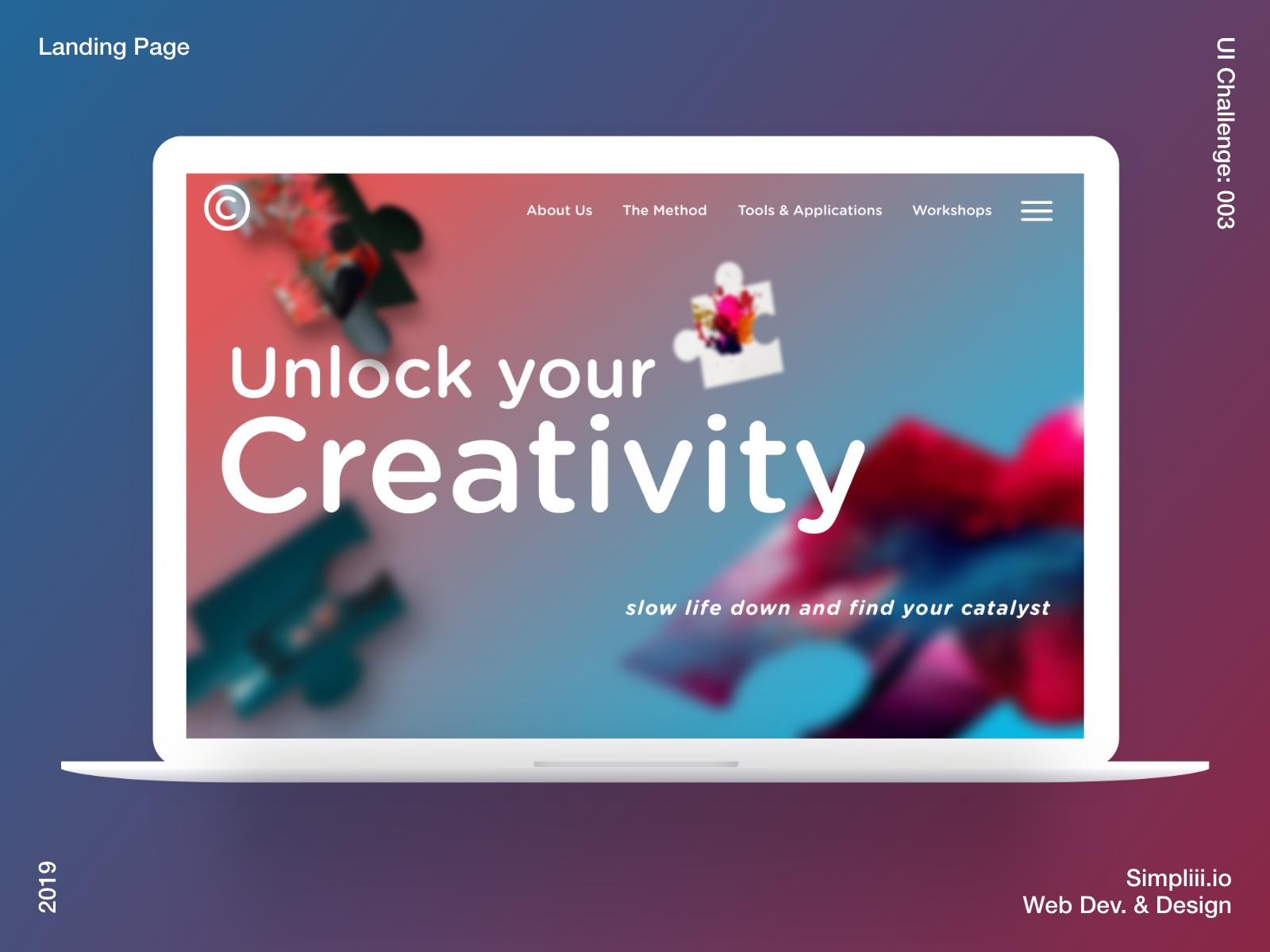Unlock your creativity - Landing Page