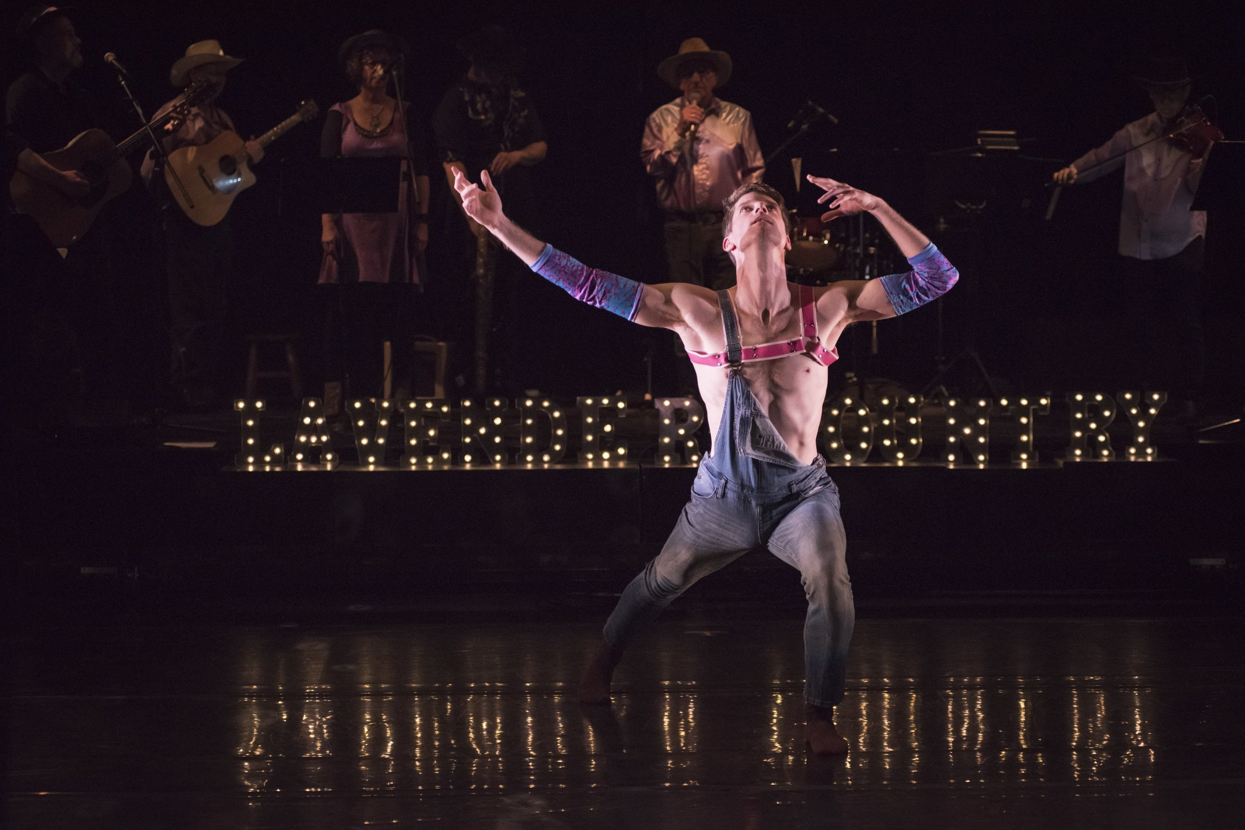 Scott Marlowe in Thiessen's and Dekkers'  Lavender Country,  costume design by Christian Squires, photo by Natalia Perez