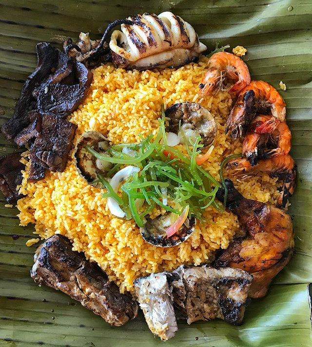 That Asian Rice Life - oh just getting some carb-io in for today...and every other day.  X You got that 炒饭, Nasi Padang and Biryani. This is Philippines' contribution to the delicious carb family. This is a mini Surf & Turf Boodle fight for 3 (we were told), but it can honestly feed 4-5 pax with the rice alone but I'm not complaining. That rice is coated with generous amount of crab fat and annatto oil giving it that beautiful sunrise orange hue. If you haven't had crab fat (Tabang Talangka), you know what to do over the weekend!  X Crab Fat Rice, Grilled Squid, Scallop, Prawn, Kelp, Grilled Tuna Belly, Liempo & Chicken Inasal X #filipinofood #rice #boodlefight #cebu #eat #foodporn #philippines #foodphotography #beautifulcuisines #foodstagram #kitchn #delicious #cheflife #foodie #foodielife #onthetable #inmykitchen #feedfeed #f52grams #yummylicious #yummyfood #foodheaven #foodstyle #nomnom