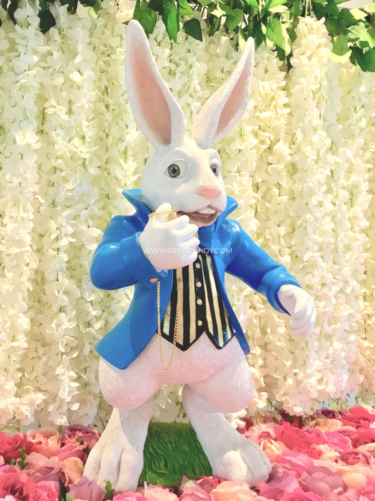 """WHITE RABBIT - """"I'm late, I'm late for a very important date!No time to say hello, goodbye! I'm late! I'm late! I'm late!""""Follow our beautiful White Rabbit down the rabbit hole to get your Alice In Wonderland party started!81cm h x 42cm w x 34cm d$60 to hire"""