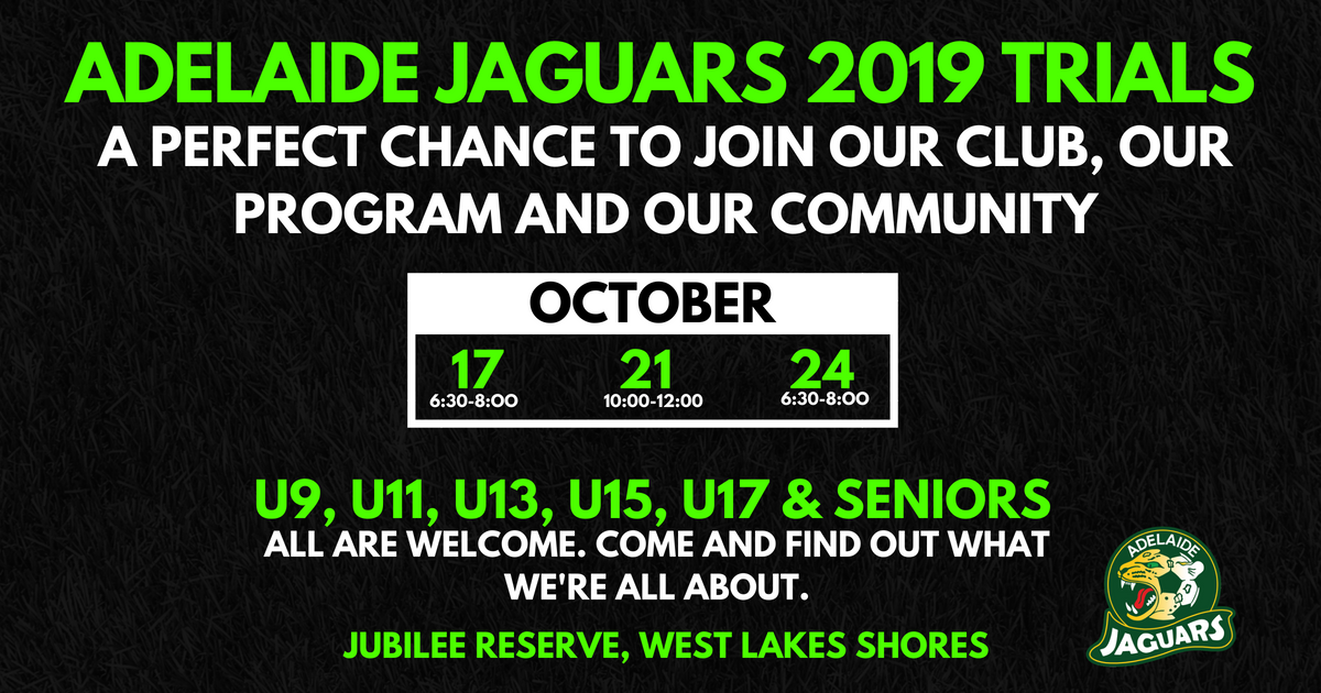 Jags Girls and Womens Trial Dates
